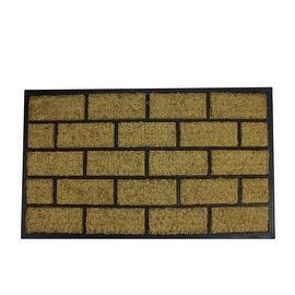 "Decorative Black Rubber and Coir Outdoor Rectangular Door Mat 29.5"" x 18"""