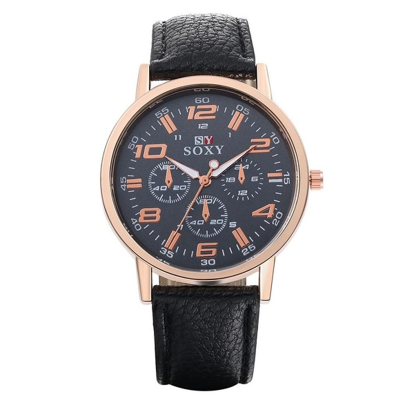 Faux Leather Rose Gold Modern Watch