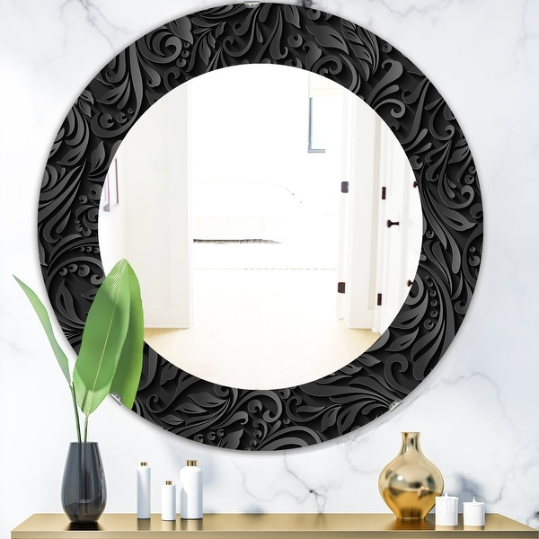 Designart Obsidian Impressions 10 Modern Mirror Oval Or Round Wall Mirror Black On Sale Overstock 28558974