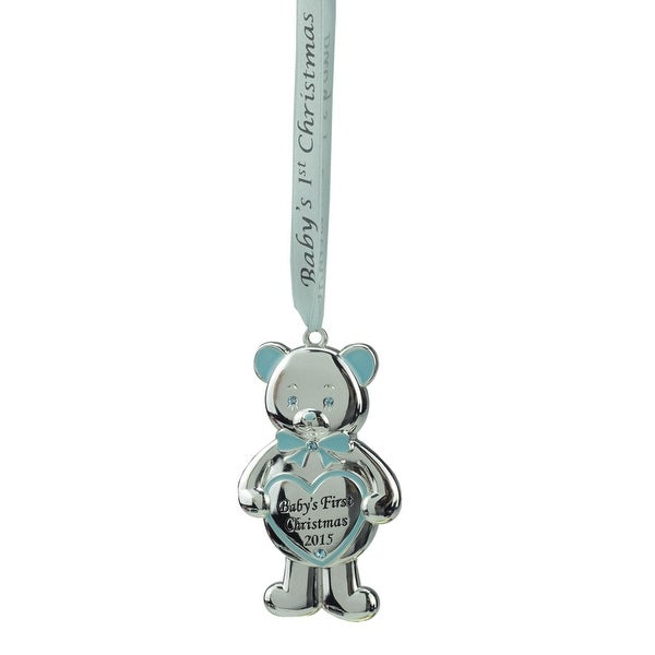 "3.25"" Regal Silver and Blue ""Baby's First Christmas 2015"" Bear Ornament w/ European Crystals"