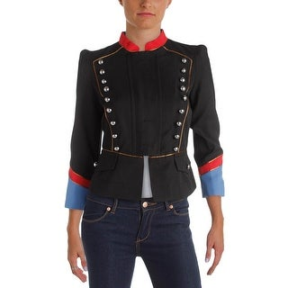 Marc by Marc Jacobs Womens Victorian Military Jacket Peplum Colorblock
