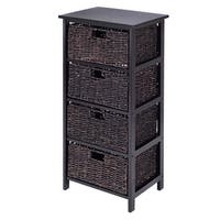 Costway Wooden End Accent Storage Table Home Office Furniture Decor W/4 Storage Baskets