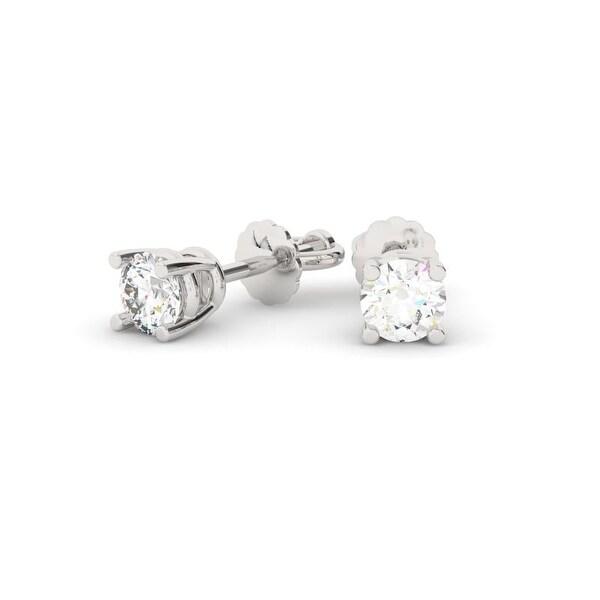 5e3ee13b1 Shop 1/2 CT.TW 14KT Gold Round Cut Four-Prong Basket Diamond Stud ...