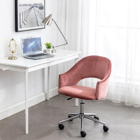RoseGold Velvet Office Task Makeup Dresser Table Vanity Executive Fancy Plush Elegant Premium Chair