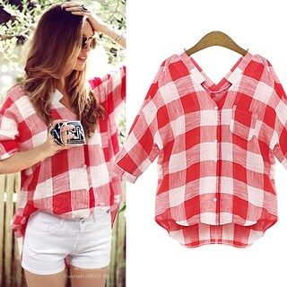 Womens Red Checkers Shirts Summer Cosy Blouse Top +Necklace