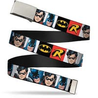 Blank Chrome  Buckle Batman & Robin Blocks Black Red Webbing Web Belt