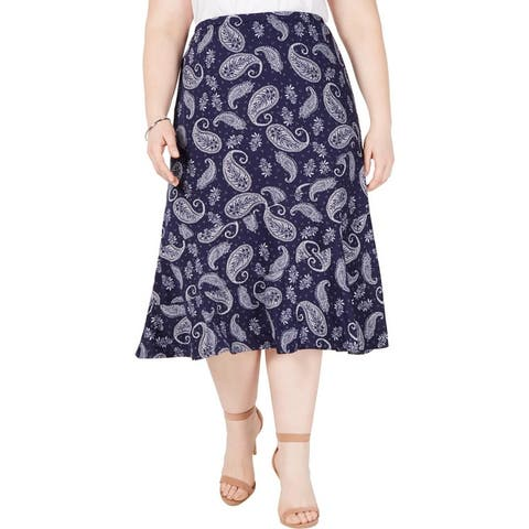 NY Collection Womens Plus Midi Skirt Printed Flounce