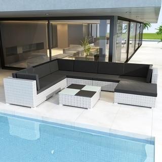 "vidaXL 8 Piece Garden Lounge Set with Cushions Poly Rattan White - 28"" x 28"" x 25"""