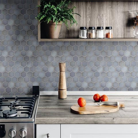 """SomerTile Hudson 2"""" Due Hex Grey Eye 12-1/2 in.x 11-1/4 in. x 5mm Porcelain Floor and Wall Mosaic Tile"""