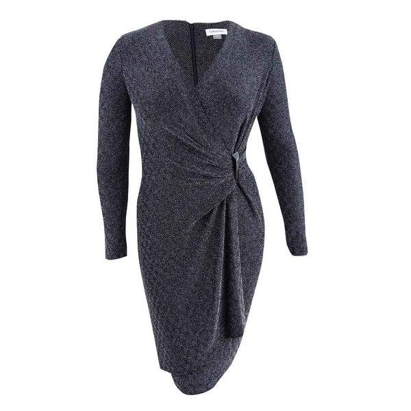 Shop Calvin Klein Women\'s Plus Size Metallic Faux-Wrap Dress - On ...