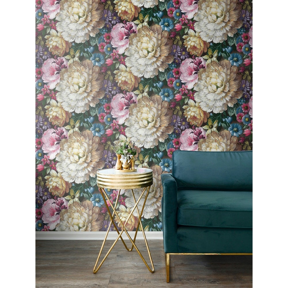 Peel-and-Stick Removable Wallpaper Large Floral Impressionist Watercolor Roses