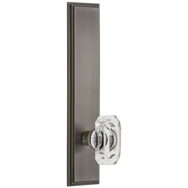 Grandeur CARBCC_TP_PRV_234_RH Carre Solid Brass Tall Plate Rose Right Handed Privacy Door Knob Set with Baguette Clear Crystal