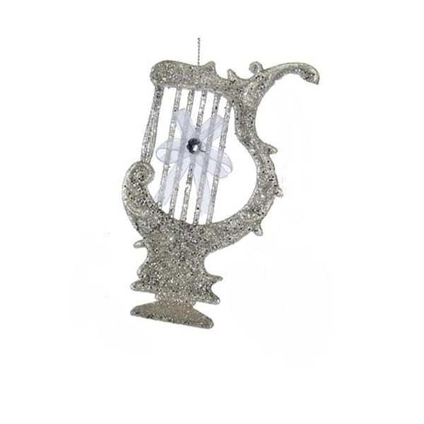 """5"""" Silver Glittered Harp with White Bow Musical Instrument Christmas Ornament"""