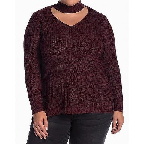 Planet Gold Red Knit Mock Neck Women's Size 2X Plus V-Neck Sweater
