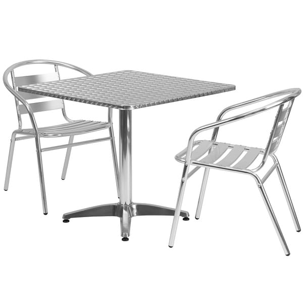Shop Skovde Pcs Square Aluminum Table W Slat Back Chairs - Aluminum table and chairs for restaurant