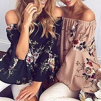 Lady's  Fashion Loose Floral Print Backless Off Shoulder Bell Sleeve Blouse Shirt