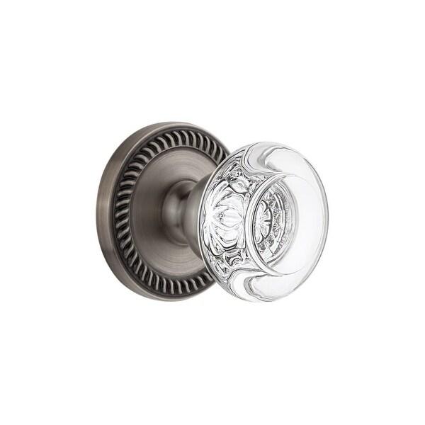 "Grandeur NEWBOR_PRV_238 Newport Solid Brass Rose Privacy Door Knob Set with Bordeaux Crystal Knob and 2-3/8"" Backset"