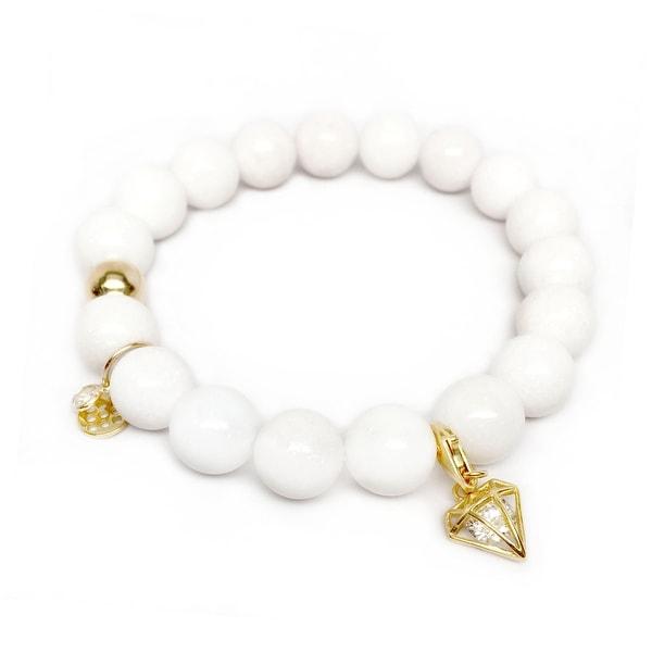 "White Jade Diamond Gold Charm Emma 7"" Bracelet"