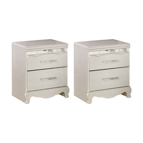 Ashley B182-92 Silver Zarollina Two Drawer Night Stand w/ Bedazzled Drawer Pulls (2 Pack)