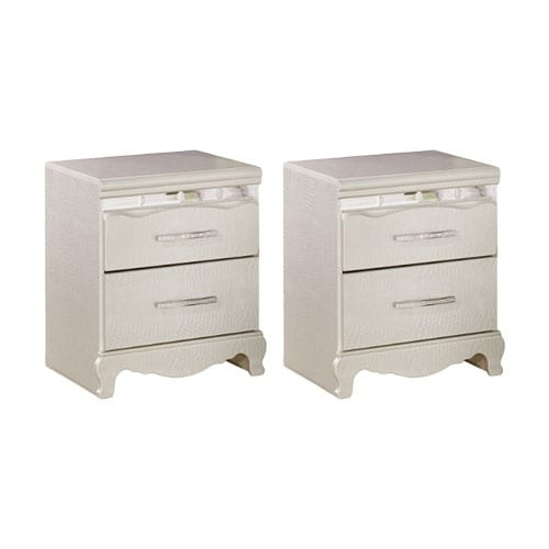 Ashley B182 92 Silver Zarollina Two Drawer Night Stand W/ Bedazzled Drawer  Pulls (