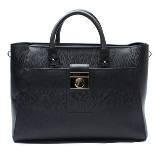 Versace Leather Tote Handbag - Black - M
