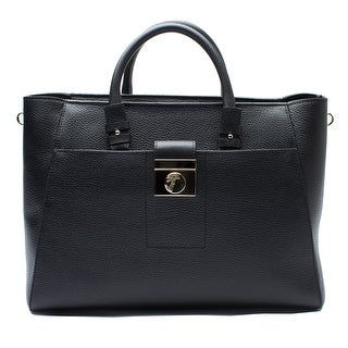 Versace Collection Leather Tote Handbag - Black - M