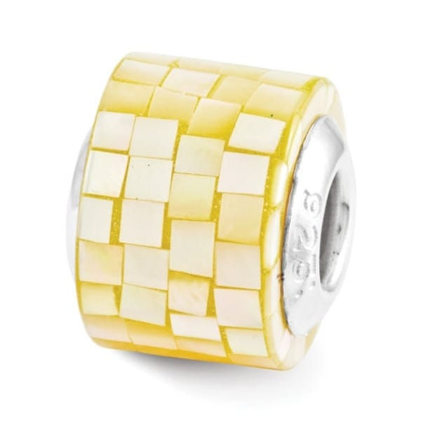 Sterling Silver Reflections Yellow Mother of Pearl Mosaic Bead (4mm Diameter Hole)