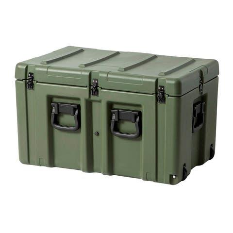 Monoprice Stackable Rotomolded Weatherproof Case W/Foam & wheels 30 x 18 x 18in