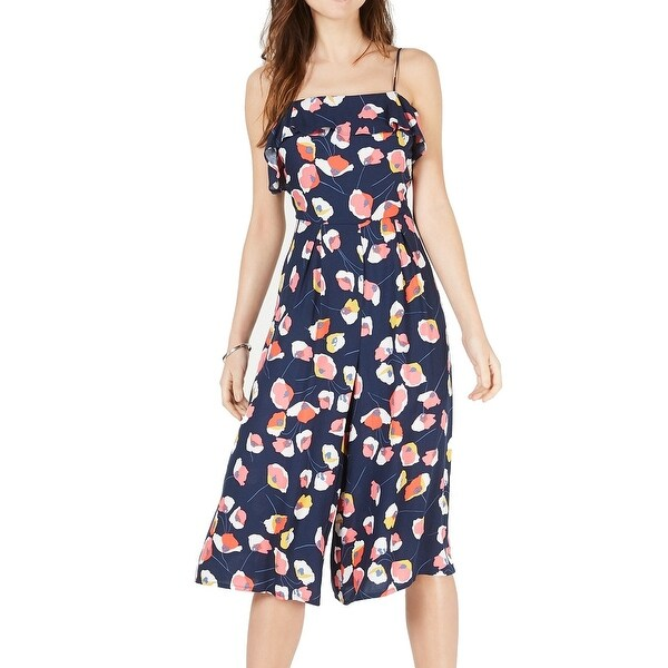 Trixxi Jumpsuit Blue Size XL Junior Cropped Floral Printed Ruffled. Opens flyout.
