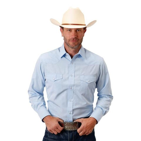 Roper Western Shirt Mens L/S Longhorn Blue