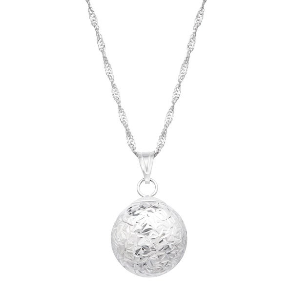 Just Gold Etched Ball Pendant in 14K White Gold