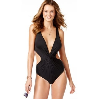 Bar III Maillot Monokini Womens One-Piece Swimsuit Black Small S
