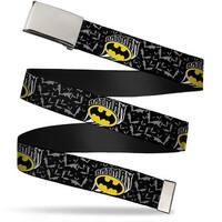 Blank Chrome  Buckle Batman W Bat Shield & Flying Bats Black Gray Web Belt