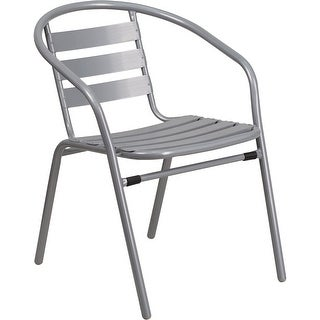 Skovde Silver Metal Stack Chair with Aluminum Slats for Patio/Bar/Restaurant