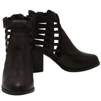 Lov mark Adult Black Side Woven Strap Back Zipper Heeled Boots