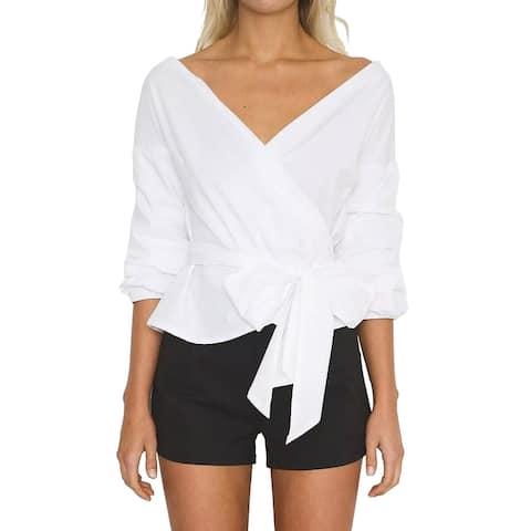 QZUnique Women's Summer Blouse V Neck Loose Beachwear Belted Sash Tunic Shirt Puff Sleeve Tie Front Top
