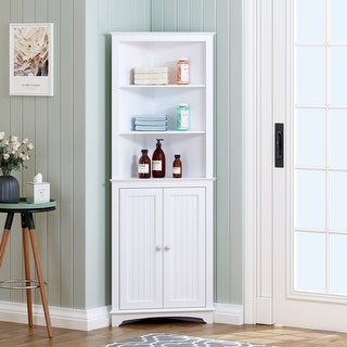 Shop For Spirich Bathroom Storage Tall Corner Cabinet With 2 Doors And 3 Tier Shelves White And More At Everyday Discount Prices With Free Shipping Over 45 On Overstock Com Your Online Furniture Store