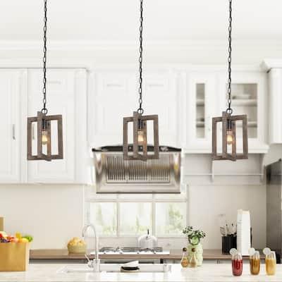 "Modern Farmhouse Mini 1-light Kitchen Islands Distressed Wood Chandelier Adjustable Ceiling Lighting - D8"" x H10.5"""