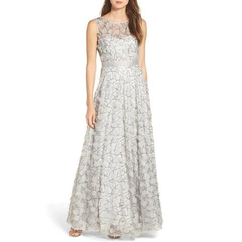 261f4bdcf32 Eliza J Sequin Floral Embellished Applique Mesh Ball-Gown