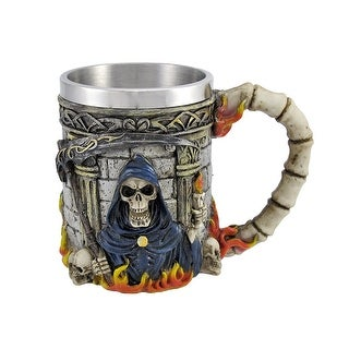 Grim Reaper Skulls and Flames Death Coffee Mug