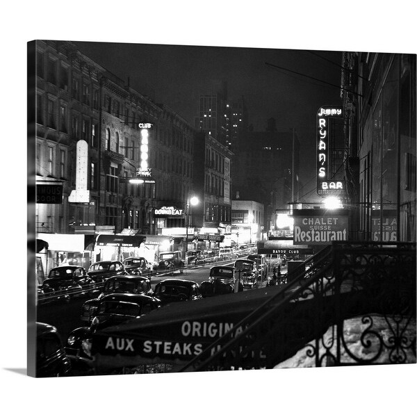 """""""1940's Night Street Scene West 52Nd Street Lights From Numerous Clubs"""" Canvas Wall Art"""