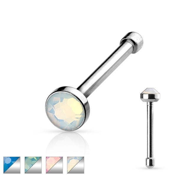 Flat Top Opalite Stone Press Fit 316L Surgical Steel Nose Bone (Sold Individually)