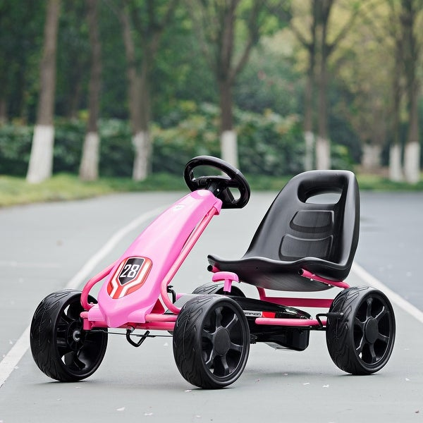 Go Kart Pedal Car Kids Ride On Toys Pedal Powered 4 Wheel Adjustable