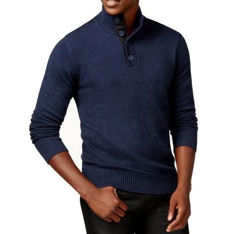 Sean John Blue Mens Size 2XL Twist Yarn Button Mock Neck Sweater