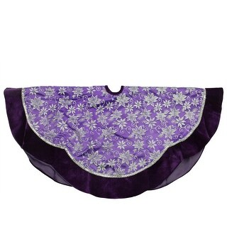 """48"""" Purple and Silver Glittered Floral Christmas Tree Skirt with Velveteen Trim"""