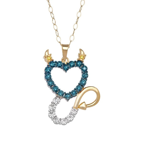 1/10 ct Diamond Devil Heart Pendant in 14K Gold-Plated Sterling Silver - Blue