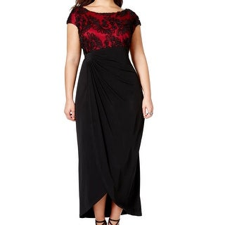 Connected Apparel NEW Red Black Soutache 18W Plus Sheath Gathered Dress