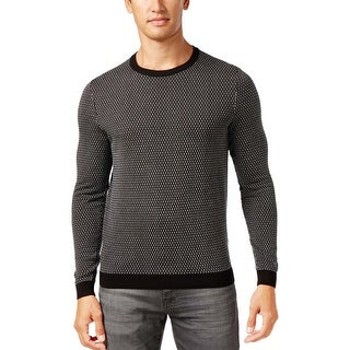Hugo Boss Green Label Ricco Textured Geometric Crewneck Pullover Sweater Black