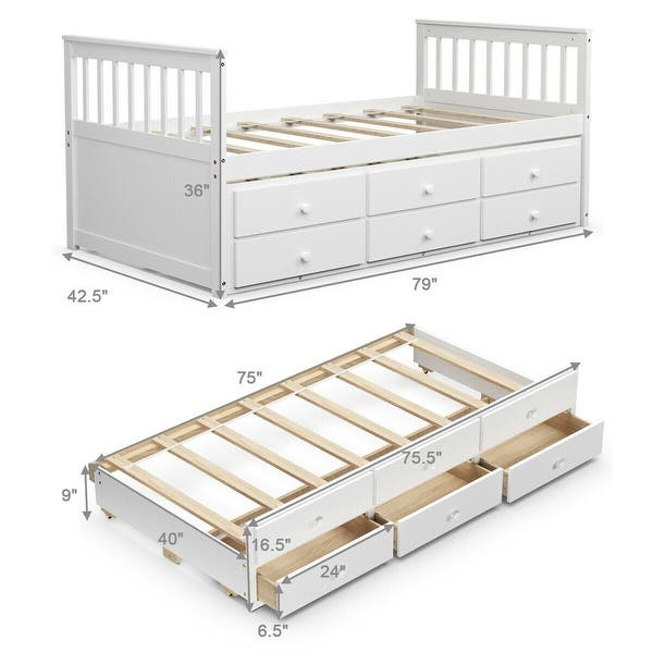 Alternative Twin Captain S Bunk Bed White 79 L X 42 5 W X 36 H Overstock 33181597