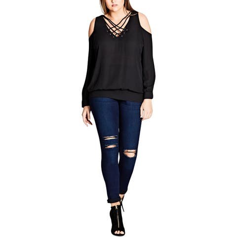 City Chic Womens Plus Pullover Top Lace-Up Cold Shoulder